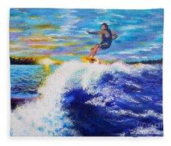 Wake Surfin' Fleece Blanket