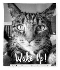 Wake Up It's Your Birthday Cat- Art By Linda Woods Fleece Blanket