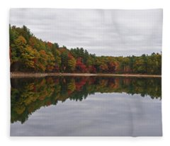 Walden Pond Fall Foliage Concord Ma Reflection Trees Fleece Blanket