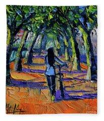 Walk Beneath The Plane Trees Modern Impressionist Palette Knife Painting Fleece Blanket