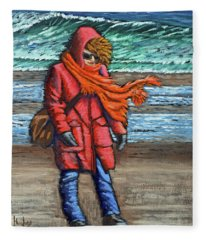 Walk On Beach Fleece Blanket