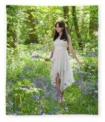 Walk Through The Bluebells Fleece Blanket