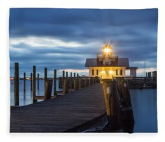 Walk To Roanoke Marshes Lighthouse Fleece Blanket