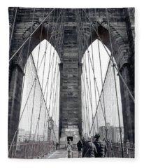 Walking Across The Brooklyn Bridge Fleece Blanket