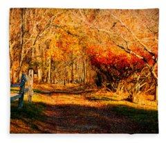 Walking Down The Autumn Path Fleece Blanket