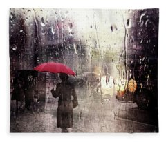Walking In The Rain Somewhere Fleece Blanket