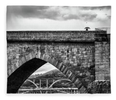 Walking On The Roman Bridge Fleece Blanket