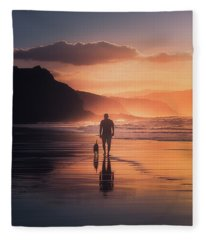 Walking The Dog Fleece Blanket