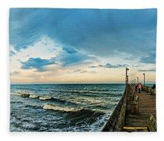 Walking The Pier Fleece Blanket