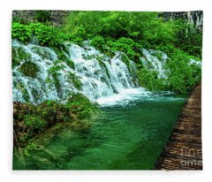 Walking Through Waterfalls - Plitvice Lakes National Park, Croatia Fleece Blanket