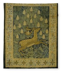 Wall Cloth With Jumping Deer Against A Background Of Flowering Chestnuts, Willem Karel Rees, C. 1902 Fleece Blanket