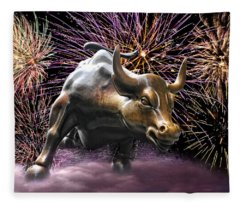 Wall Street Bull Fireworks Fleece Blanket