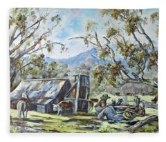 Wallace Hut, Australia's Alpine National Park. Fleece Blanket
