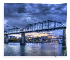 Walnut Street Pedestrian Bridge Sunset Chattanooga Tennessee Art Fleece Blanket