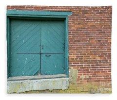Warehouse Loading Door And Brick Wall Fleece Blanket