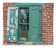 Warehouse Window With Shutter Fleece Blanket
