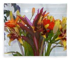 Warm Colored Flowers Fleece Blanket