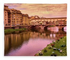 Sunset At Ponte Vecchio In Florence, Italy Fleece Blanket