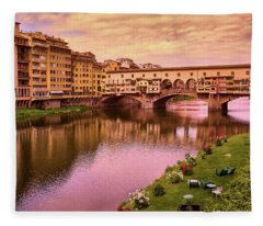 Warm Colors Surround Ponte Vecchio Fleece Blanket