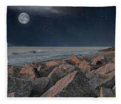 Warm Moonrise At For Fisher Fleece Blanket