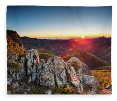 Warm Sunlight At Sunrise In The Mountain Fleece Blanket