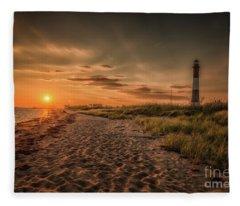 Warm Sunrise At The Fire Island Lighthouse Fleece Blanket