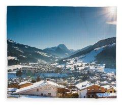 Warm Winter Day In Kirchberg Town Of Austria Fleece Blanket
