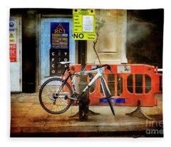 Warning Bicycle Suspended Fleece Blanket