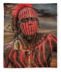 Warpath Shawnee Indian Fleece Blanket