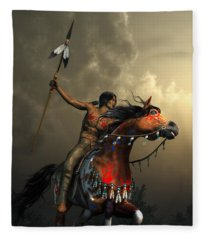 Warriors Of The Plains Fleece Blanket