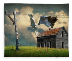 Wash On The Line By Abandoned House Fleece Blanket