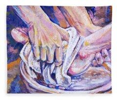 Washing Feet Fleece Blanket