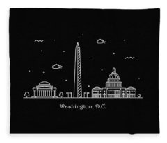 Washington D.c. Skyline Travel Poster Fleece Blanket