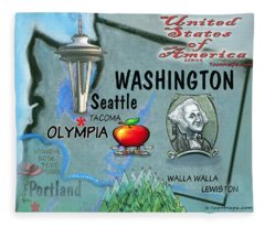 Washington Fun Map Fleece Blanket