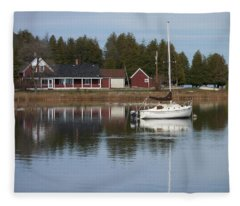 Washington Island Harbor 4 Fleece Blanket