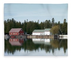 Washington Island Harbor 7 Fleece Blanket