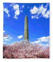 Washington Monument Cherry Blossoms Fleece Blanket