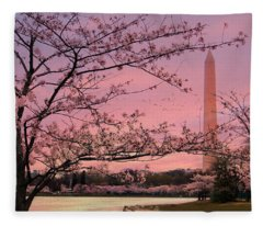 Washington Monument Cherry Blossom Festival Fleece Blanket