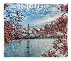 Washington Monument Through Cherry Blossoms Fleece Blanket