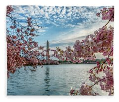 Washington Monument Through Cherry Blossoms Fleece Blanket