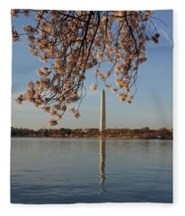 Washington Monument With Cherry Blossoms Fleece Blanket