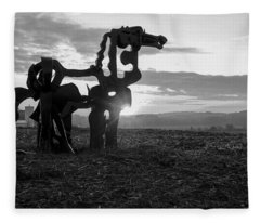 Watchful The Iron Horse  Fleece Blanket