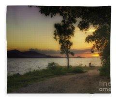 Watching Sunset Fleece Blanket