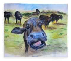 Water Buffalo Kiss Fleece Blanket