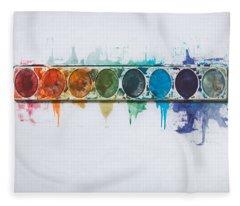 Water Colors Fleece Blanket