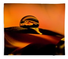 Water Drop On Orange Fleece Blanket
