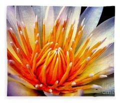 Water Lily Flower Fleece Blanket