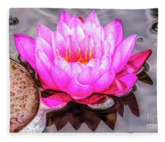 Water Lily In The Rain Fleece Blanket