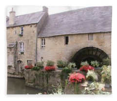 Water Mill - Bayeux - Normandy Fleece Blanket