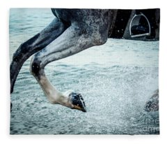 Water Splash Horse Legs Galloping On The Water Fleece Blanket